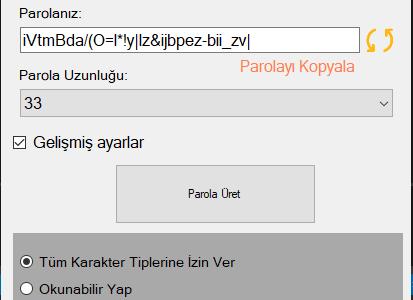 C# Random Password Generator Programı ve Kodları